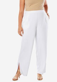 Knit Crepe Side-Slit Pant,