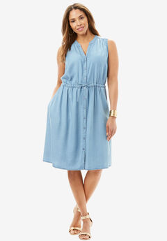 Sleeveless Tencel® Dress, LIGHT WASH