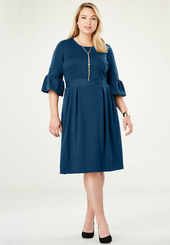 Ponte Fit & Flare Dress, TWILIGHT TEAL