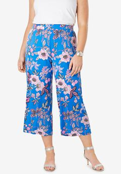 Stretch Knit Cropped Pants, FUCHSIA JACOBEAN FLORAL
