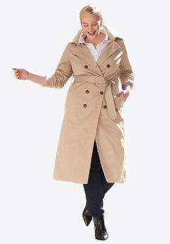 Double Breasted Long Trench Coat, NEW KHAKI