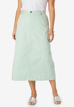 Classic Cotton Denim Long Skirt,