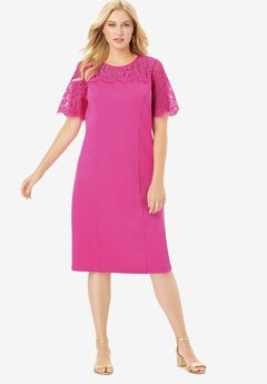 Lace Yoke Ponte Dress,