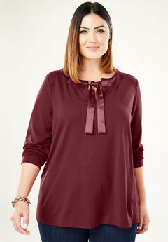 Satin Trim Tunic, BURGUNDY