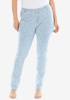 True Fit Straight Leg Jeans, DENIM FLORAL CONTOUR