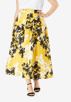 Floral Skirt, YELLOW GRAPHIC FLORAL