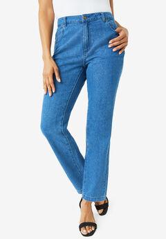 Classic Cotton Denim Straight Jeans, MEDIUM STONEWASH