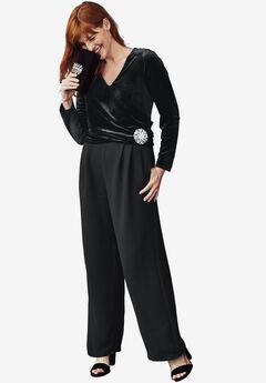 Velvet & Crepe Jumpsuit, BLACK