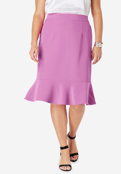 Flounced Bi-Stretch Skirt, FUCHSIA PINK