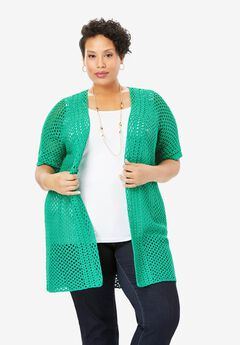 Crochet Long Cardigan, TROPICAL EMERALD