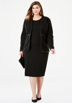 Leather Trim Jacket Dress,