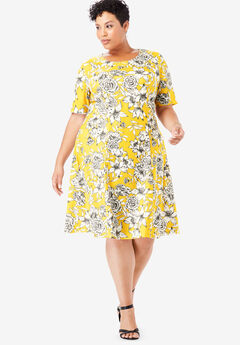 Ponte Flare Dress, IVORY BOTANICAL FLORAL