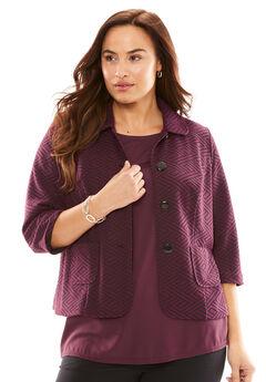 Patterned Knit Crop Jacket,