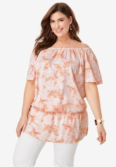 Off-The-Shoulder Blouson Tunic,