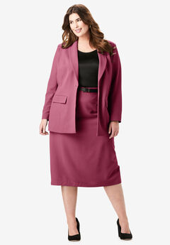 Single-Breasted Skirt Suit, DARK WINE