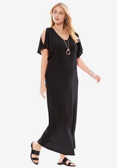 759103d8a38 Travel Knit Cold Shoulder Maxi Dress