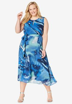 Belted Georgette Dress,