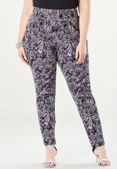 Tummy Control Twill Ankle Pant, TRUE GRAPE PAISLEY