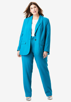 Single Breasted Pant Suit, DEEP TEAL