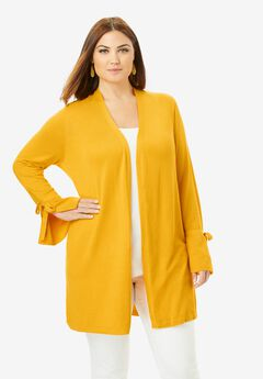 Bell Sleeve Cardigan Sweater, SUNSET YELLOW