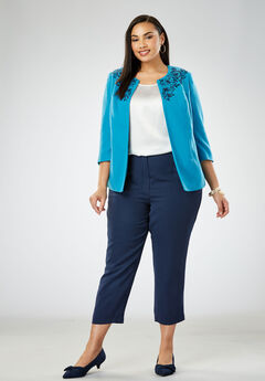 Embroidered Pant Suit, SEA BLUE POPPY EMBROIDERY
