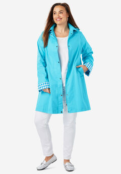 A-Line Hooded Raincoat, TURQUOISE