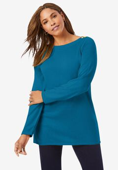 Boatneck Tunic Sweater, PEACOCK TEAL