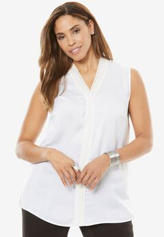 Sleeveless Placket Front Blouse,