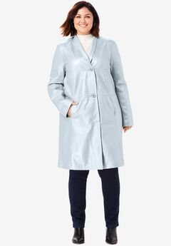 Leather Swing Coat, PEARLIZED GREY