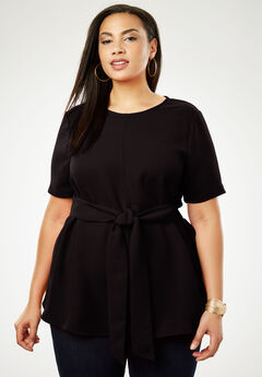 Tie-Front Tunic, BLACK