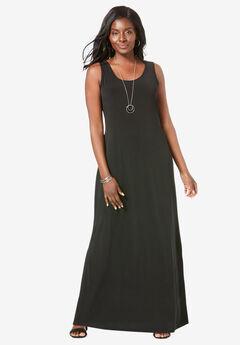 Sleeveless Maxi Dress, BLACK