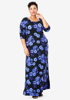 Blouson Maxi Dress, BLACK SHADOW ROSE
