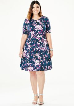 Ponté Knit Elbow Dress with Scoop Neckline,