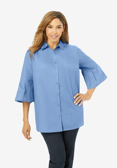 Pleated Sleeve Poplin Shirt, SAPPHIRE ICE