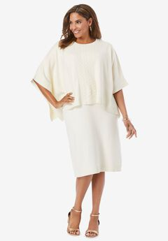 Cable-Knit Cape Sweater Dress, IVORY
