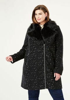 Wool-Blend Moto Coat, BLACK WHITE PRINT