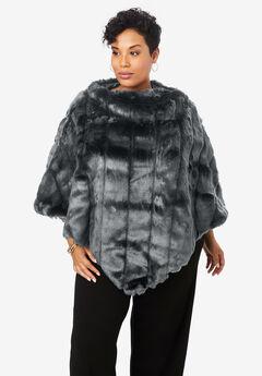 Faux Fur Poncho, BLACK