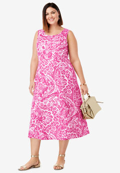 Linen Fit & Flare Dress, ROYAL ROSE LOTUS PAISLEY