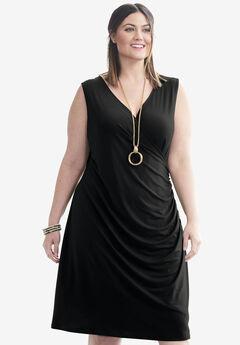 Faux Surplice Dress, BLACK