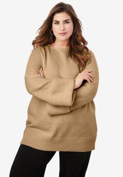 Faux Fur-Trim Sweater, SOFT CAMEL