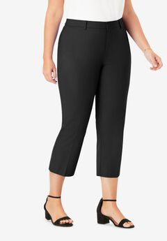 Stretch Poplin Crop Pant, BLACK