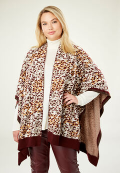 Shawl Sweater Poncho, BROWN CHEETAH