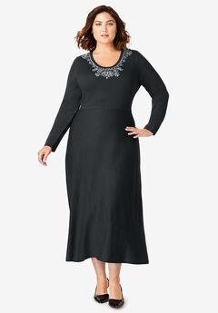 Bow Sweater Dress, BLACK