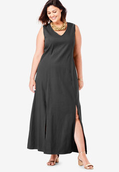 Denim A-Line Maxi Dress, BLACK