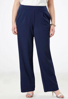 Signature Knit Crepe Trouser, NAVY