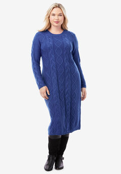 Cable Sweater Dress, ULTRA BLUE