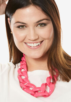 Chunky Bead Necklace, HOT PINK
