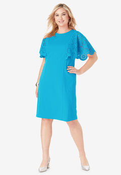 Laser Cut Sleeve Dress,