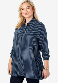 Soft Fit & Flare Tunic, NAVY PINSTRIPE