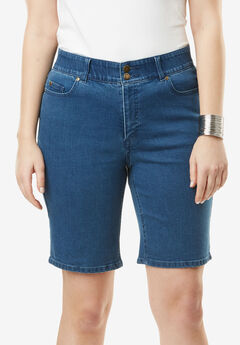 Tummy Control Denim Shorts,